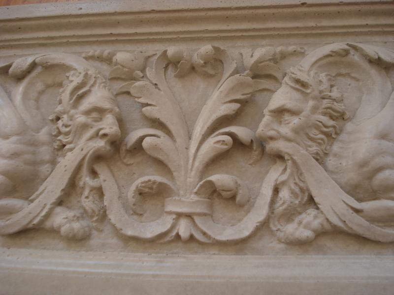 Motivplatte aus Beton  61,5 x 22 cm Fassaden Stuck  Gründerzeit 101-246B