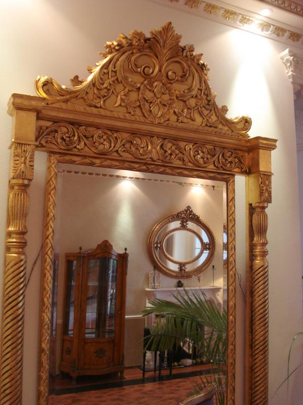 sehr gro er wandspiegel barock spiegel antik gold holzrahmen 2 42. Black Bedroom Furniture Sets. Home Design Ideas