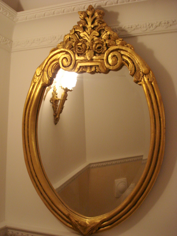 sch ner wandspiegel barock spiegel antik gold holzrahmen oval 75x49cm deko ebay. Black Bedroom Furniture Sets. Home Design Ideas