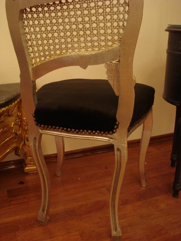 wundersch ner barock stuhl holz silber antik schwarz silber dekoration ebay. Black Bedroom Furniture Sets. Home Design Ideas
