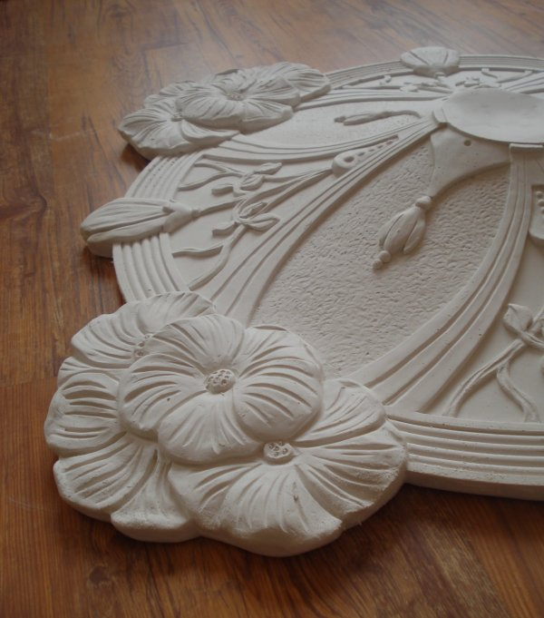 stuckrosette 100 184 1 stuck jugendstil rosette d ca 82 cm ebay. Black Bedroom Furniture Sets. Home Design Ideas